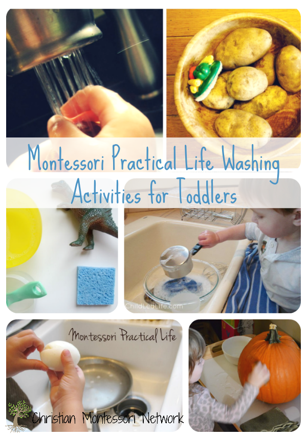 A fun list of Montessori practical life washing activities, perfect for toddlers. www.ChristianMontessoriNetwork.com