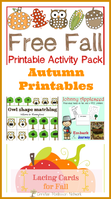 A fun collection of autumn printables for toddlers and preschoolers to enjoy this fall season. Bloggers, come join our awesome Learn & Play link up party! - www.christianmontessorinetwork.com