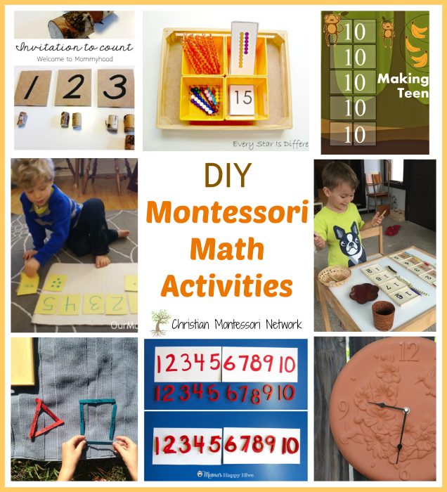 "Enjoy a fun collection of DIY Montessori math activities and please join our ""Learn & Play"" Thursday link party! - www.christianmontessorinetwork.com"