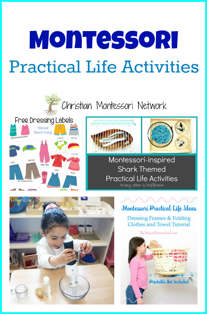 Use this list of Montessori practical life activities to encourage fine motor skills practice and self dressing in kids on Christian Montessori Network!