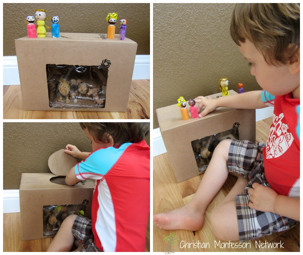 Daniel in the Lion's Den - This easy cardboard box lion's den with wooden peg people can be put together in 30 minutes and provides loads of fun for a toddler or preschool aged child. - www.christianmontessorinetwork.com