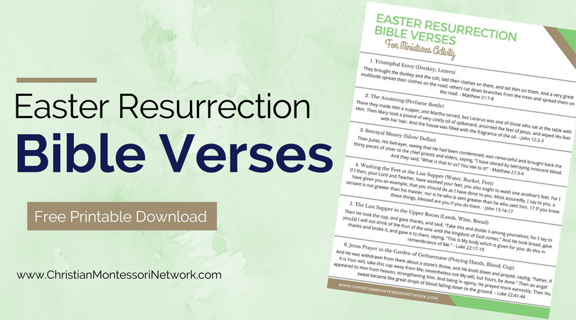 Easter Resurrection Bible Verses Printable and Miniatures Activity.
