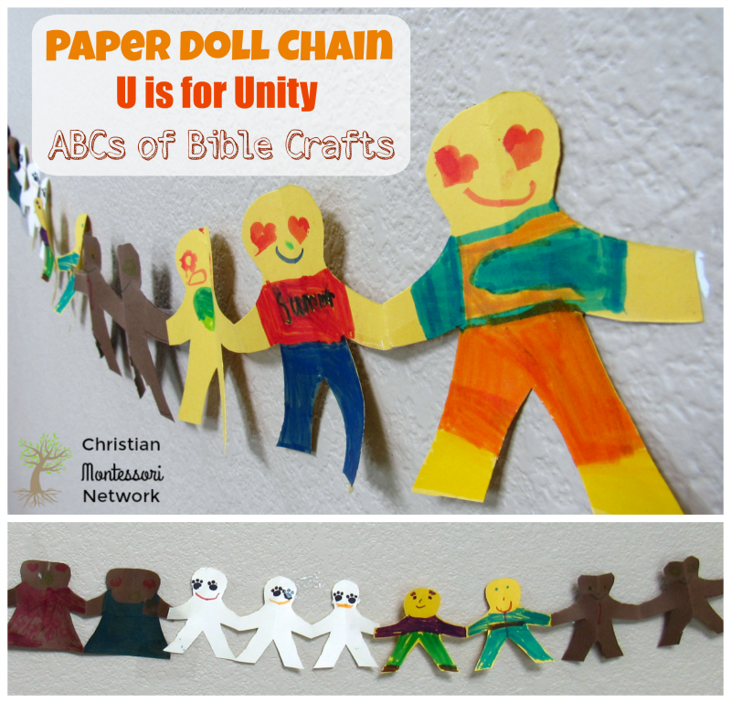 "Teaching unity to our children is a true gift! In this edition to the ABCs of the Bible crafts,our a great series of Bible School Craft Ideas, we want to share with you ""U for Unity"". This is an easy Paper Doll Chain Unity Bible Craft with many great modifications for children of all ages."